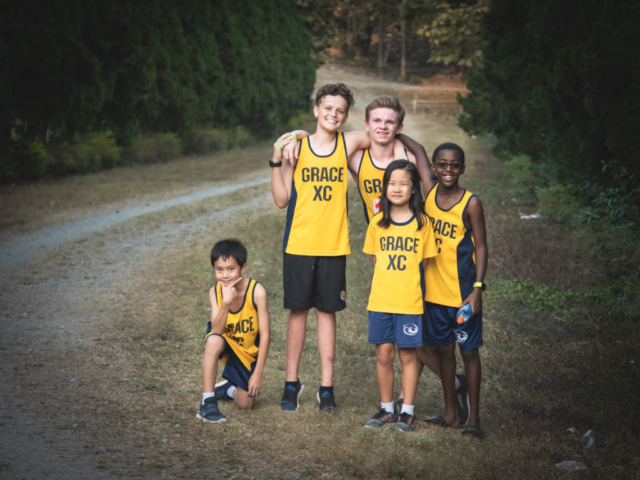 GIS Cross Country team members on the trail